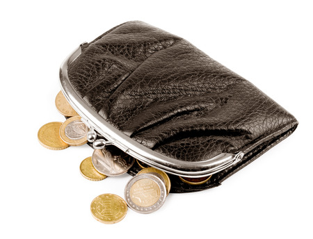 female  wallet with coins isolated on white photo