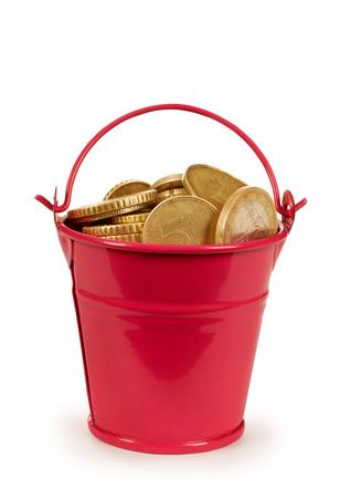 bucket of money: money - coins bucket