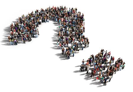 質問、思考の概念、または白地に回答のための探求の人々 の大規模なグループ。