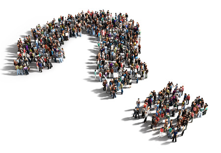 question marks: Large group of people with questions, thinking concept, or quest for answers on a white background. Stock Photo
