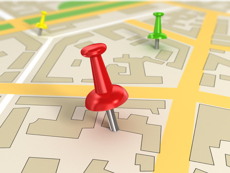 road map with Pin Pointers 3d rendering image Stock Photo