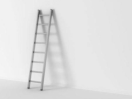 ladder success: 3d illustration of ladder in square hole over white background