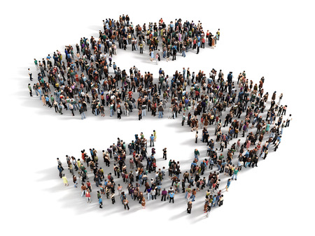 growth concept: Large group of people forming the symbol of a dollar sign. Concept of success.