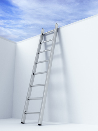 Ladder on wall in front of sky Imagens