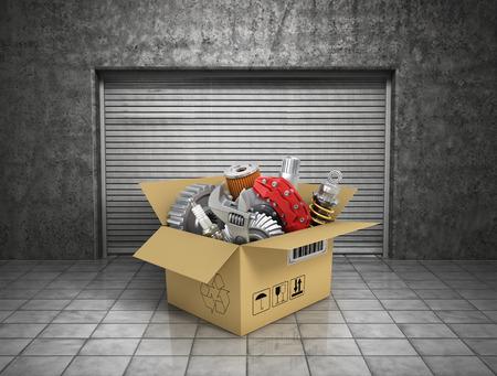 part of: Auto parts with cardbox in garage. Automotive basket shop. Auto parts store.