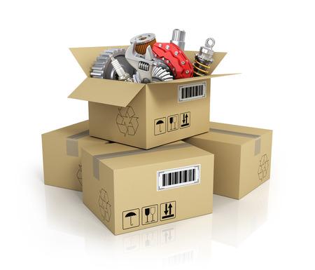 mecanico automotriz: Piezas de autom�viles en la caja de cart�n. Tienda canasta Automotive. Tienda de auto partes.