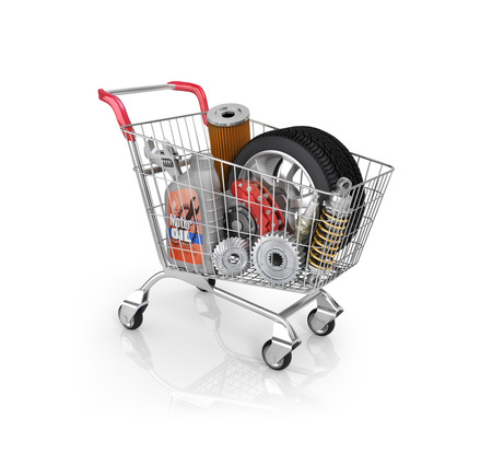 Auto parts in the trolley. Auto parts store. Automotive basket shop