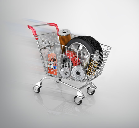 wheel: Auto parts in the trolley. Auto parts store. Automotive basket shop