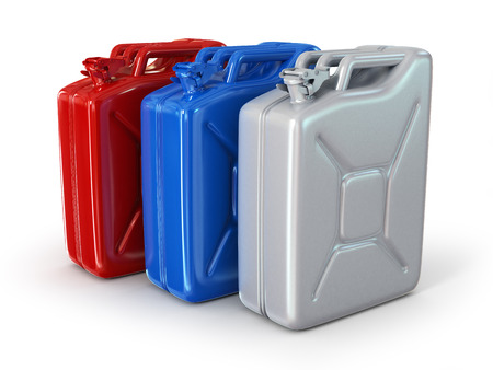 Three fuel container isolated on white photo