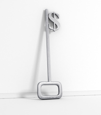 A key with a dollar-sign implemented on White. photo