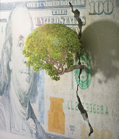 tree of life silhouette: Tree breaks free. Good concept for freedom and success concept. Tree in wall of dollar.