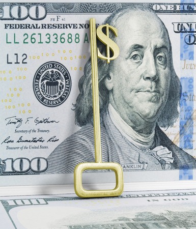 implemented: A key with a dollar-sign implemented on White.
