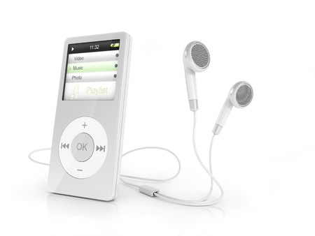 portable player: Portable musical player and headphones.