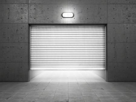 puerta: Edificio Garaje de hormig�n con puertas de persiana Foto de archivo