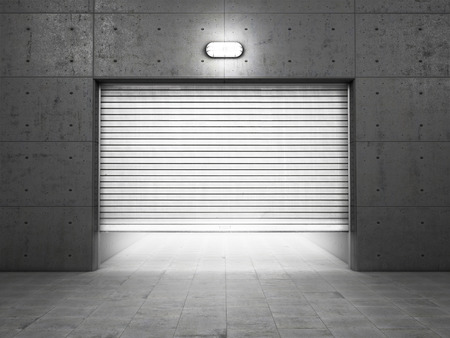 garage door: Garage building made of concrete with roller shutter doors