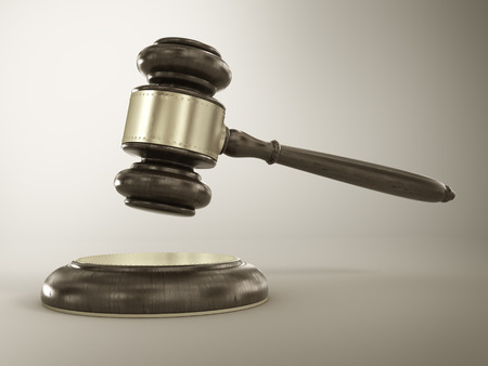 Concept of penalty. Wooden gavel and dollars with coins.