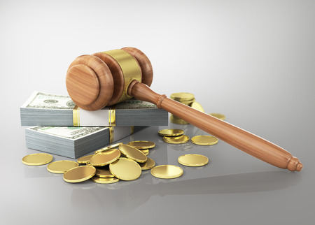Concept of penalty. Wooden cravel and dollars with coins. Banco de Imagens - 34866277