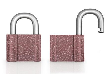 Locked and unlocked metal padlocks. photo