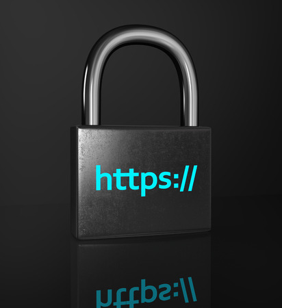 https: HTTPS padlock isolated on the black background. ?oncept of a secure connection. Stock Photo