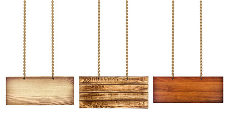 group chain: collection of various wooden signs with a gold chain on white background. each one is shot separately