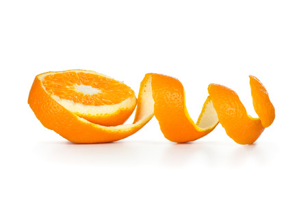 orange peel spiral on white background