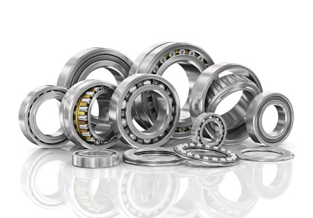 Set of steel ball bearings in closeup. Stock Photo