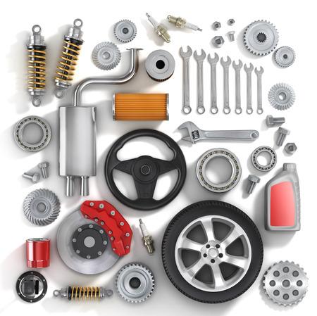 piezas coche: Conjunto de piezas de autom�vil. Foto de archivo