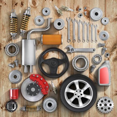 자동차 부품의 집합.