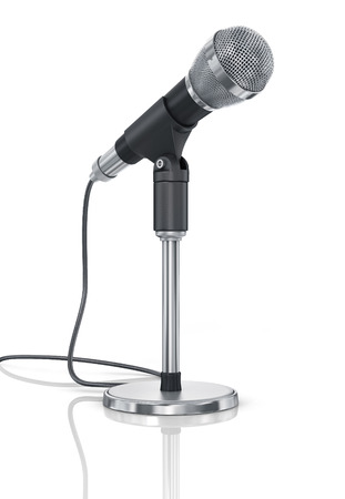 Microphone isolated on the white background. Speaker concept. photo