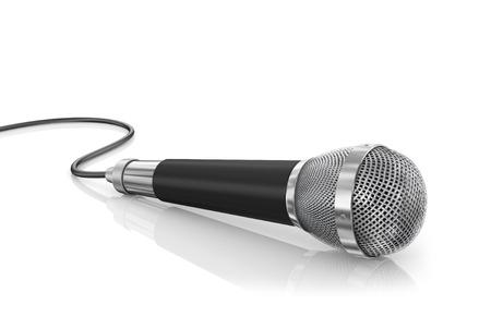 microfono de radio: Micrófono aislado en el fondo blanco. Concepto de altavoz.