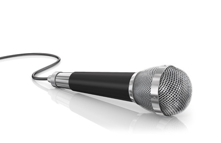Microphone isolated on the white background. Speaker concept. Banco de Imagens