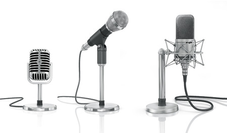 stereo cut: Set of professional microphones on the white background.