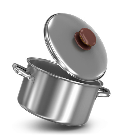 stockpot: falling pot with lid on white background Stock Photo