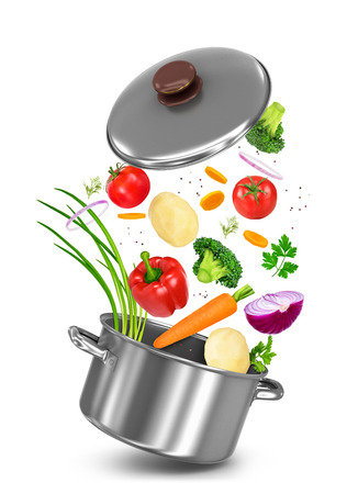 broth: Mix vegetables falls in a pot on a white background