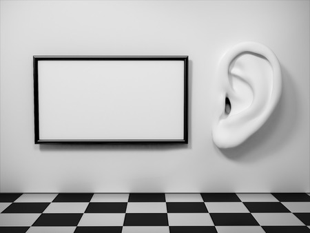 human ear: Ear in tte wall with banner. Listening concept. Stock Photo