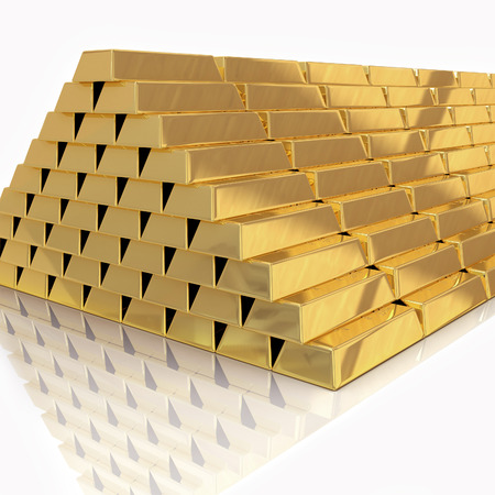 Golden bars pyramid isolated on white with reflection photo