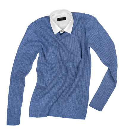 checkered polo shirt: blue shirt and black sweater isolated on a white background