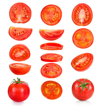 collection of pieces of tomatoes on a white background Foto de archivo