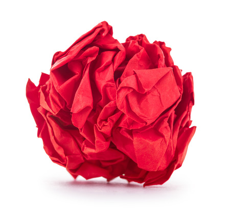 crumpled paper: bright red crumpled paper on a white background