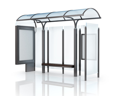 Bus stop with banner. Stock Photo
