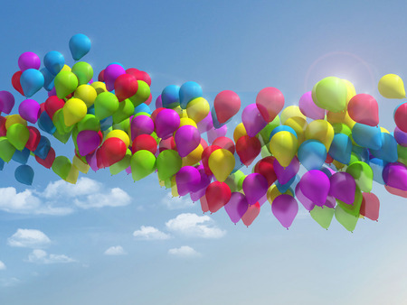 Multicolored balloons in the city festival. Stock Photo