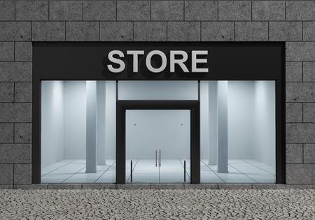 Moderne Lege Store Front met grote ramen Stockfoto