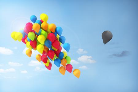 discriminacion: Concepto de separaciones. Discriminaci�n. Un globo se separa del grupo. Direcci�n incorrecta.