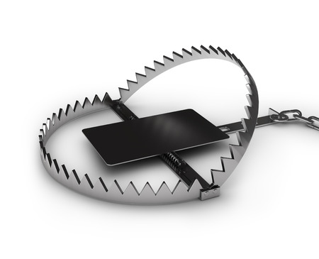 booby trap: Steel bear trap, isolated on white background Stock Photo