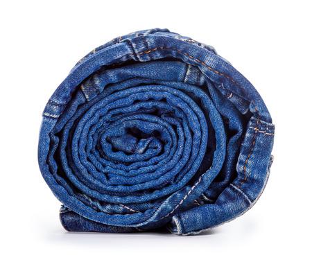 slacks: blue roll jeans isolated on white background