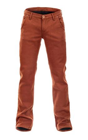 voluminous: empty voluminous brown jeans on a white background