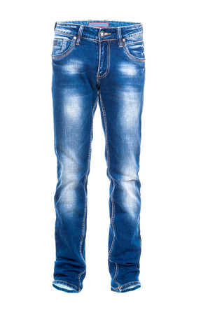 stride: Blue jeans isolated on the white background Stock Photo
