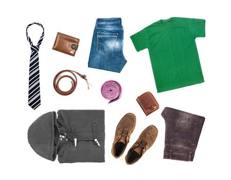 ropa casual: Colecci�n de ropa aislado en el fondo blanco Foto de archivo