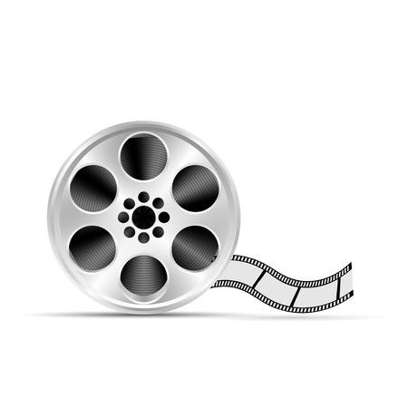 Realistic reel of film. Illustration on white background Vettoriali