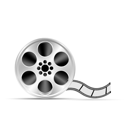 Realistic reel of film. Illustration on white background Stock Illustratie